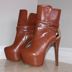 Camel High Heel Boots